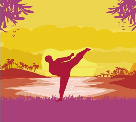 man training karate  Stock Vector - 24124558