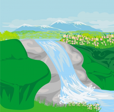 Waterfall in hills  Vector