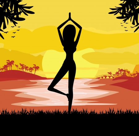 Girl in Yoga pose on Summer background with palm tree  Vector
