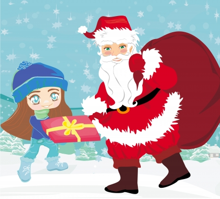 santa claus with a bag of gifts and smiling little girl Vector