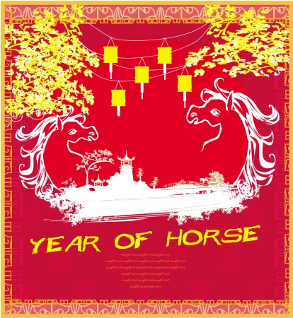 Year of Horse vector graphic design