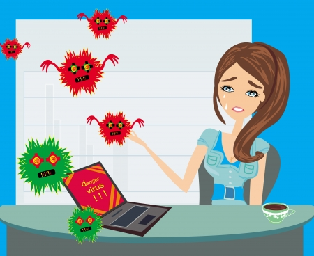 hacked: Computer virus attacking laptop in the office Illustration