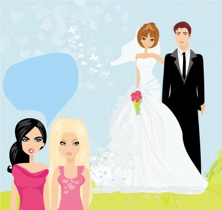 Mädchen Klatsch über das Hochzeitspaar
