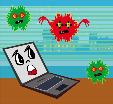 Computer virus attacking laptop  Stock Vector - 24190712