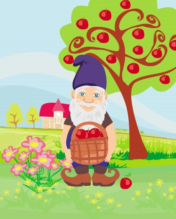 smiling gnome gardener in the orchard