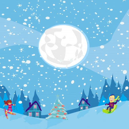fun in the winter night Vector