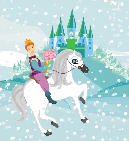 snow queen: Prince riding a horse to the princess on a winter day Illustration