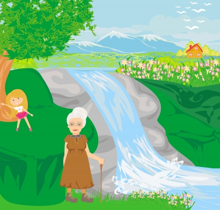 granddaughter: grandmother walking with her granddaughter