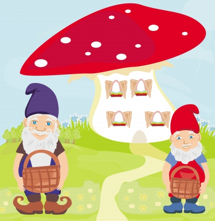 gnomes: funny cartoon mushroom house and two funny gnomes Illustration