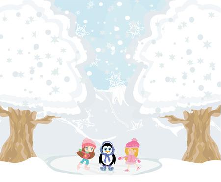 muffs: Le ragazze sui pattini e dolce pinguino Vettoriali