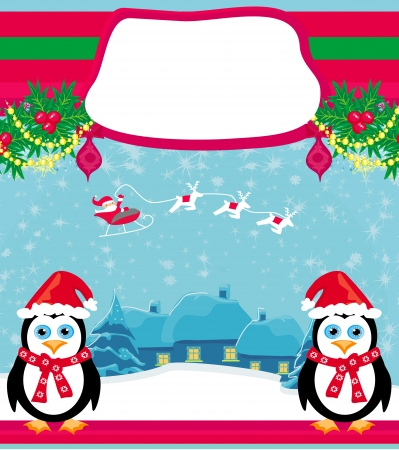 christmas holiday background with santa claus, reindeer and cute penguins