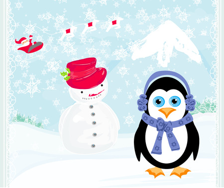 Christmas card with a penguin, santa claus and snowman  Vector