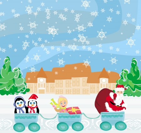 Santa Christmas Train - baby, gifts and penguins Vector