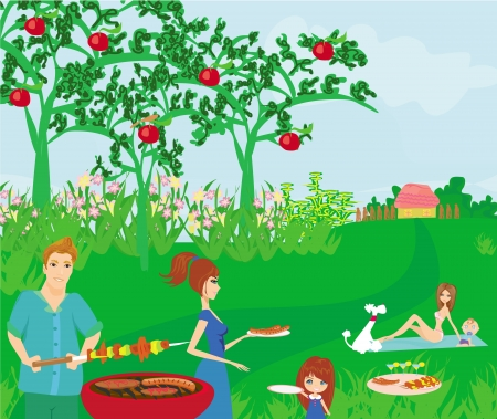 A vector illustration of a family having a picnic Vector
