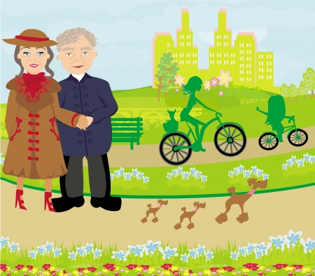 Senior couple walking in sunny day with dogs Vector