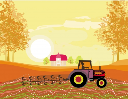 plowing: Tractor plowing field in autumn Illustration