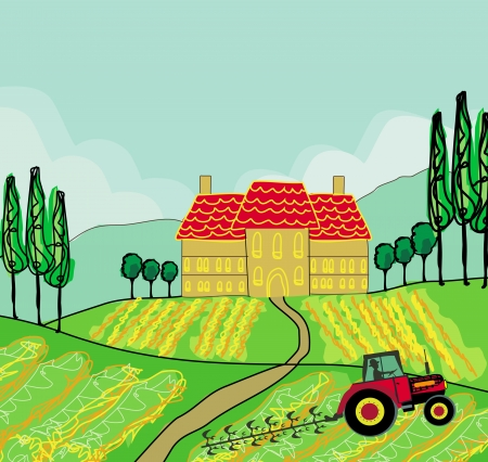 plowing: Tractor plowing field