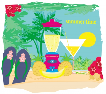 vector summer background with palm trees  and fruity drink Vector