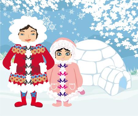 eskimos: eskimos and igloo at the evening  Illustration