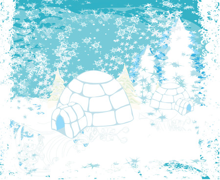 flurry: christmas igloo at the evening - Abstract winter illustration Illustration