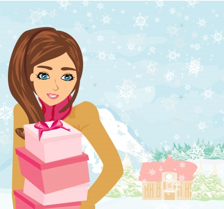 hoarfrost: Cute Girl with gift box