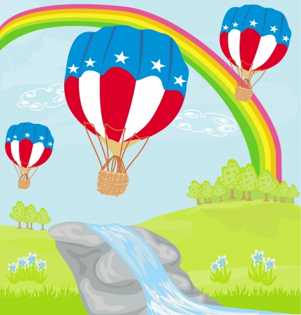 Hot Air Balloons of 4 of July in Flight  Vector