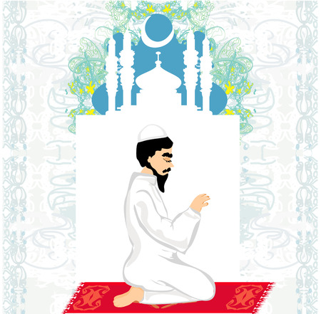 abstract religious background - muslim man praying Illustration
