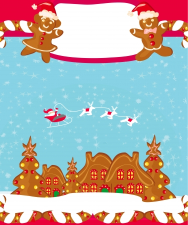 christmas card with a ginger-bread and Santa Claus flying over city