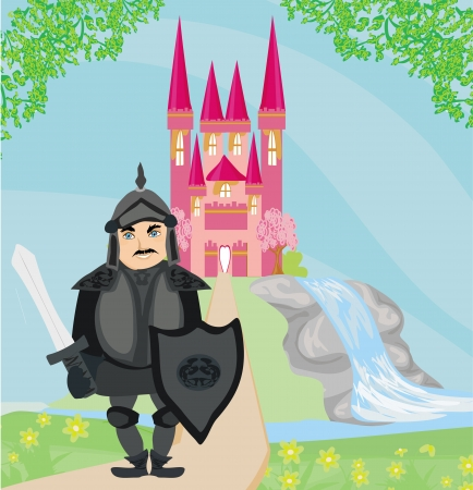 popular tale: Knight guarding the entrance to the castle Illustration