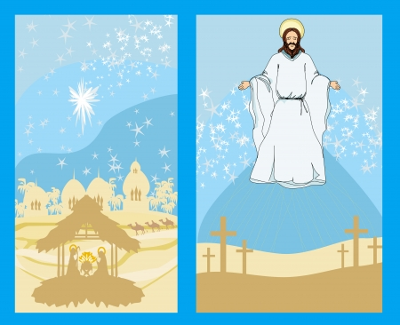 two religious images - Jesus Christ bless and birth of Jesus Vector
