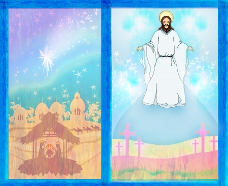 two religious images - Jesus Christ bless and birth of Jesus photo