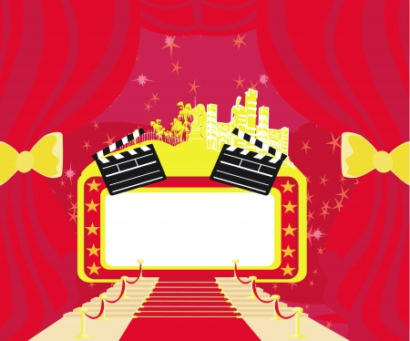 Red carpet , abstract card,movie clapper board frame Vector