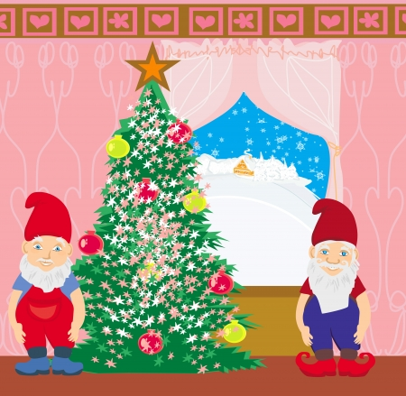 gnomes: gnomes and Christmas tree