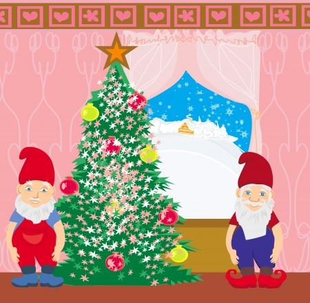 kabouters: kabouters en de kerstboom Stock Illustratie
