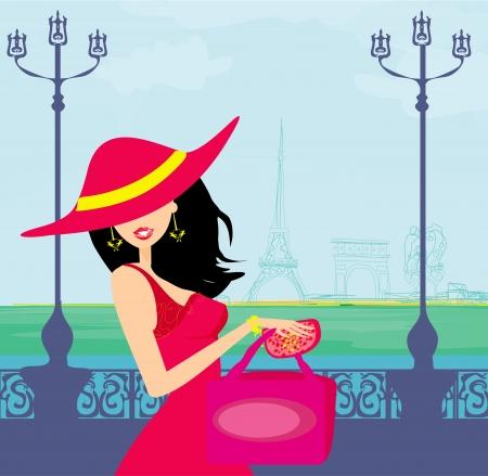 갈색 머리: 아름다운 여성은 파리에서의 쇼핑 일러스트