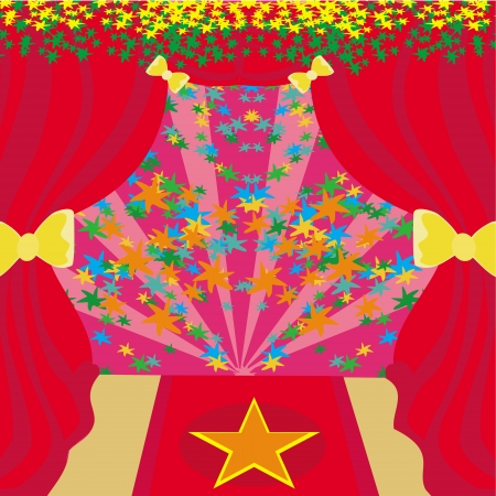 theatrics: Movie star symbol on a red carpet representing Hollywood premier grand opening. Illustration