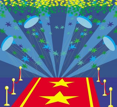 Film symbole d'étoile sur un tapis rouge représentant inauguration. Banque d'images - 24544637