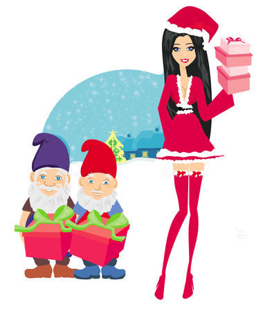 dwarfs: beautiful pin-up girl in Christmas inspired costume and dwarfs helpers