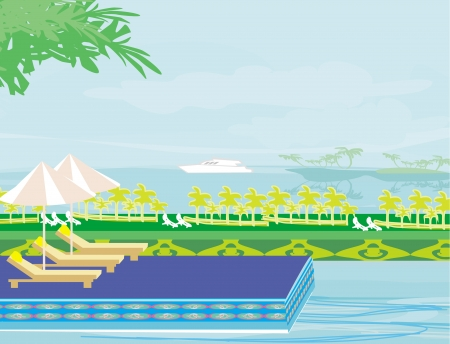 Pool on a tropical beach Vector