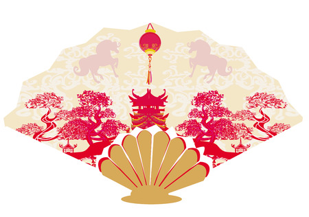 Decorative opened fan with patterns of Year of Horse graphic design  Vector