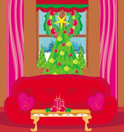 living room at Christmas time.  Vector