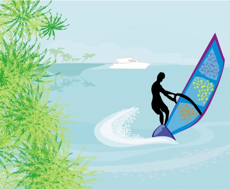 Windsurfer on the wave  Vector