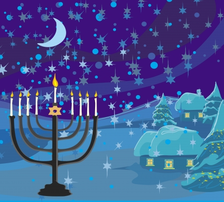 Winter Christmas scene - hanukkah menorah abstract card  Illustration