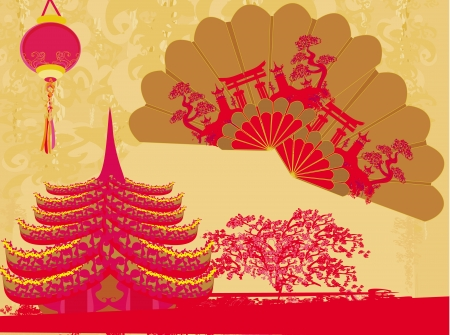 Decorative Traditional lanterns ,Chinese landscape and beautiful fans card  Vector