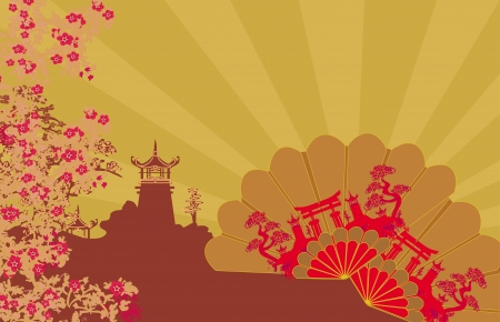 Decorative Chinese landscape and beautiful fans card  Vector