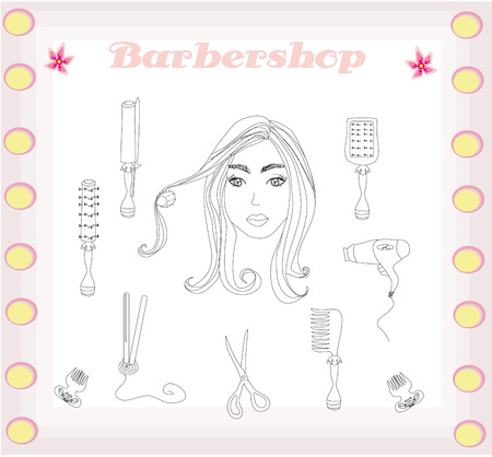 barber and hairdresser doodle set  Vector