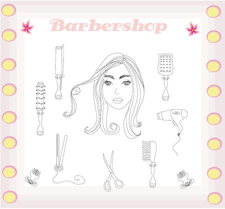 set of men hair styling: barber and hairdresser doodle set  Illustration