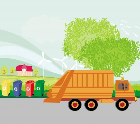 Colorful recycle bins ecology concept with landscape and garbage truck Vector