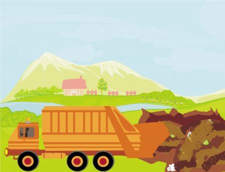 illegal dump on the field Stock Illustratie