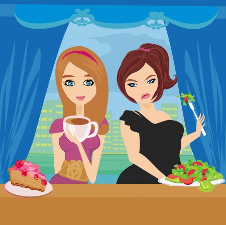 corpulent: illustration of thick and thin girls in restaurant